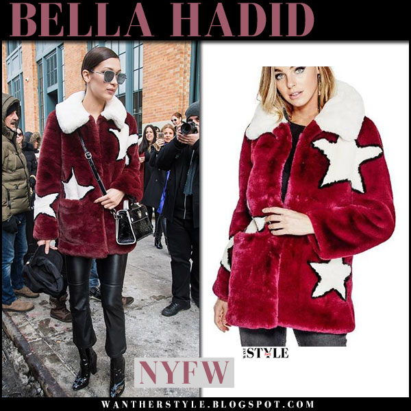 Bella Hadid in red star print fur coat guess and black leather pants nyfw outfits 2017 what she wore