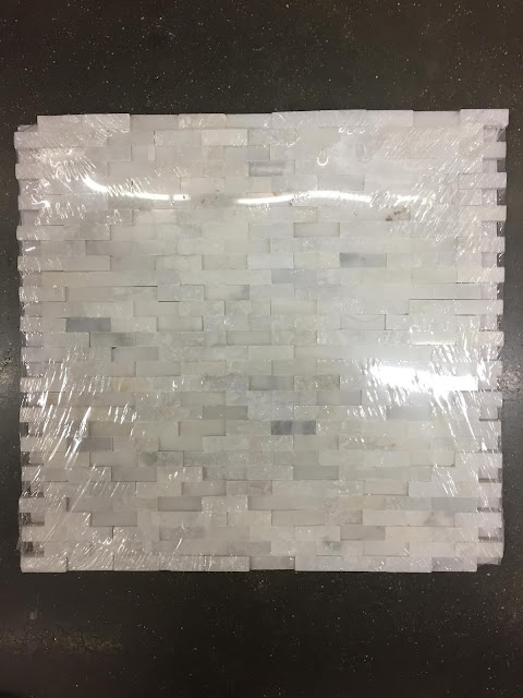 small white stacked stone tile