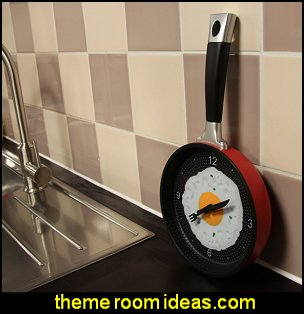 Frying Pan Clock  kitchen accessories - fun kitchen decor - decorative themed kitchen  - novelty mugs - kitchen wall decals - kitchen wall quotes - cool stuff to buy - kitchen cupboard contact paper -  kitchen storage ideas - unique kitchen gadgets - food pillows