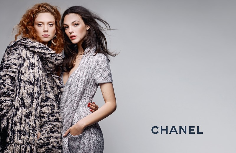 Models Natalie Westling and Vittoria Ceretti pose in Chanel's pre-fall 2017 campaign