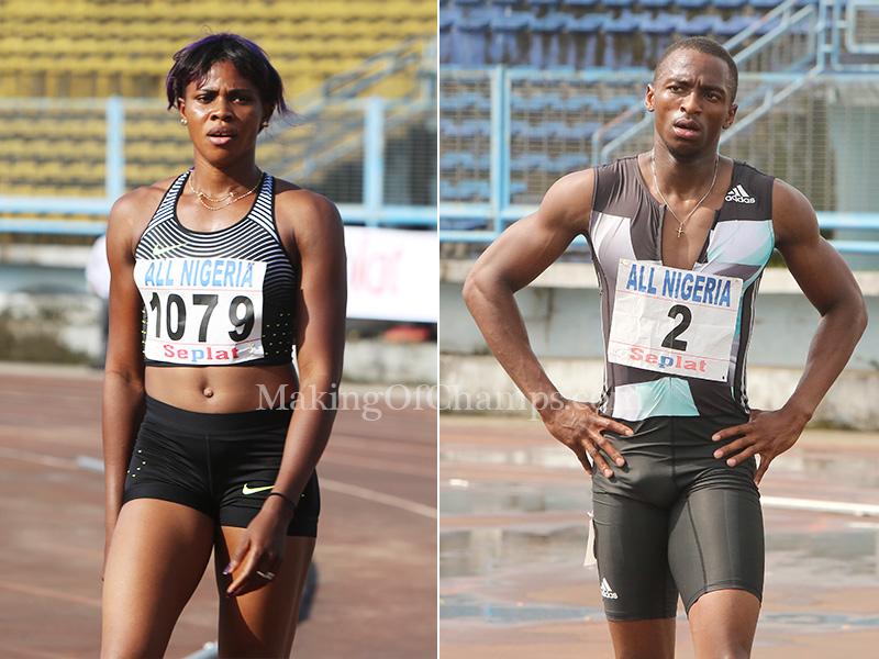 Nigeria fastest sprinters Blessing Okagbare and Seye Ogunlewe
