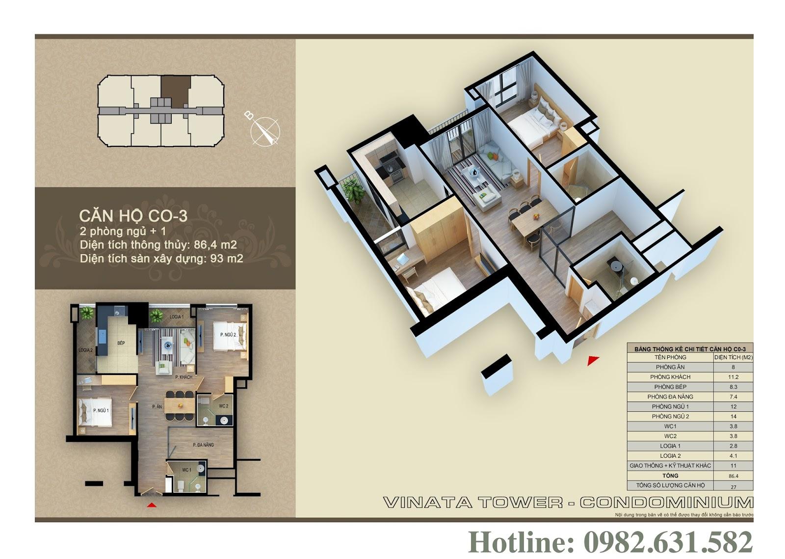 Thiết kế căn hộ chung cư Vinata CO-03