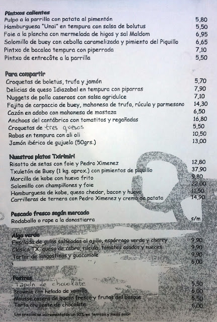 Carta_restaurante txirimiri Madrid