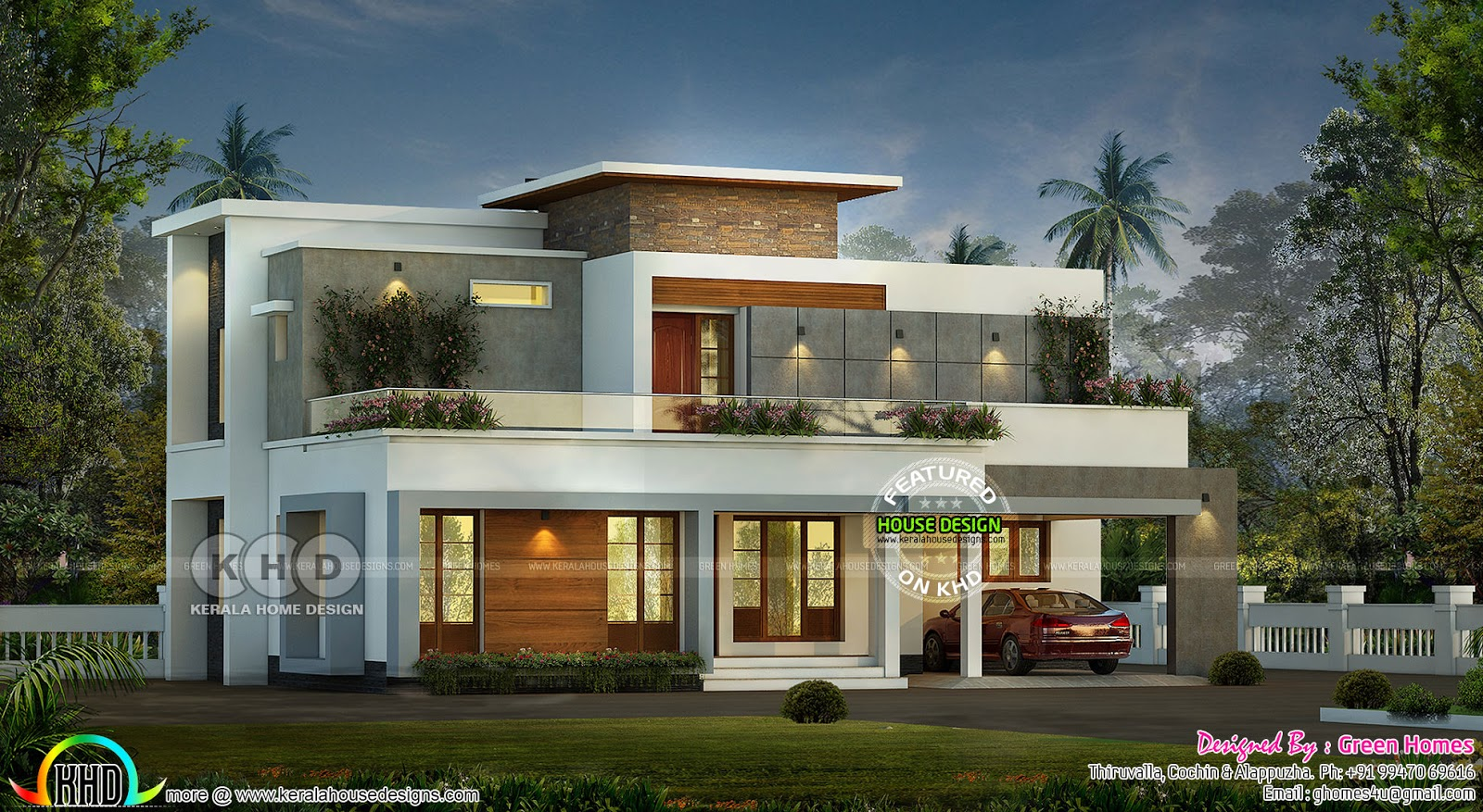 1800 square feet 3 bedroom flat roof contemporary kerala for 1800 square foot house