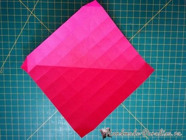 Коробочка РОЗА из бумаги в технике оригами. Мастер-класс (9)