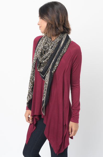 Shop for Burgundy V-Neck Asymmetrical Swing Tunic long sleeve on caralase.com