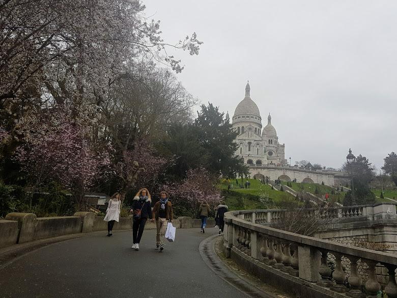 從山坡下前往聖心大教堂