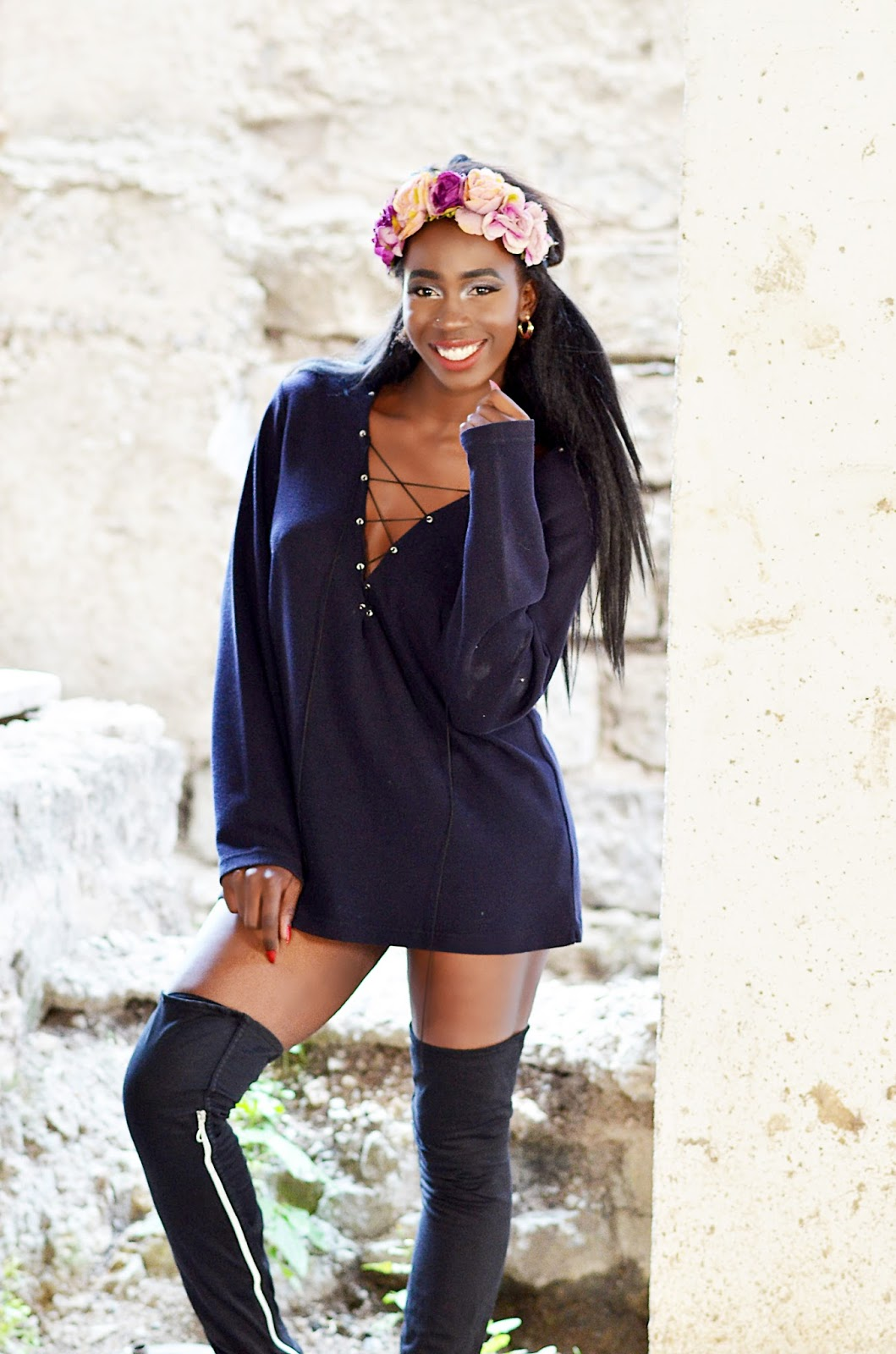how to keep up with trends, kenyan fashion blogger,  following trends, trends 2017, lace up sweater, thigh high boots, Ezil, style With Ezil