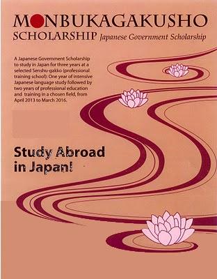 Kedutaan Besar Jepang di Indonesia menawarkan Beasiswa Pemerintah Jepang (Monbukagakusho) kepada siswa-siswi Indonesia lulusan Sekolah Menengah Atas