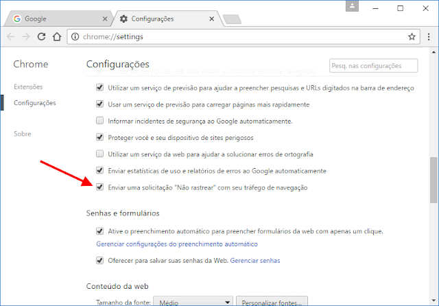 Google Chrome - Não rastrear