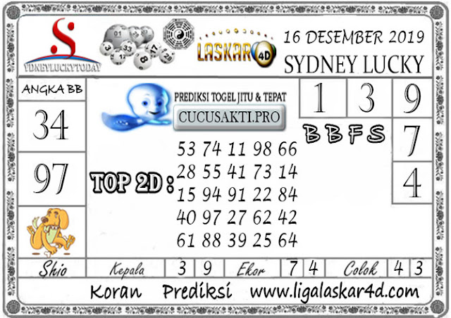 Prediksi Sydney Lucky Today LASKAR4D 16 DESEMBER 2019