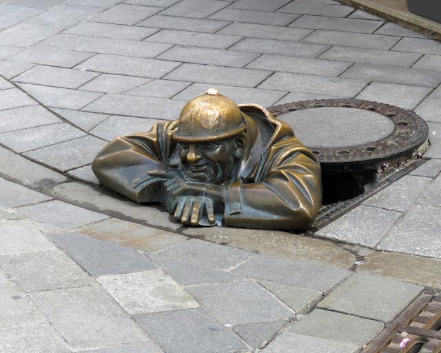 Čumil (The Watcher) by Viktor Hulík, Rybárska Gate, Panská, Laurinská, Bratislava