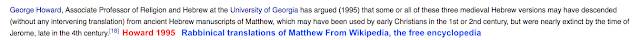 Rabbinical translations of Matthew From Wikipedia, the free encyclopedia