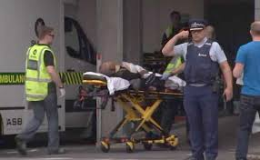 Injured person from Christ church attack  strechered to a hospital