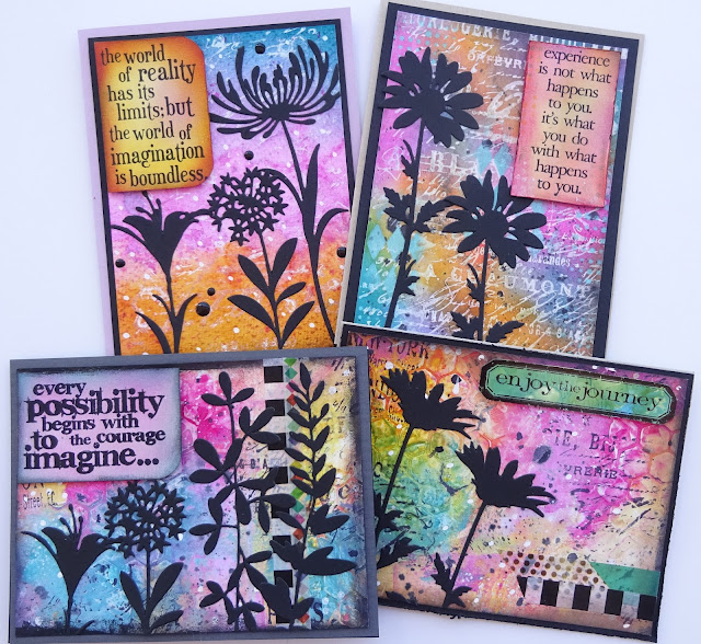 Tim Holtz Wildflowers, distress paint background, silhouette flowers, black