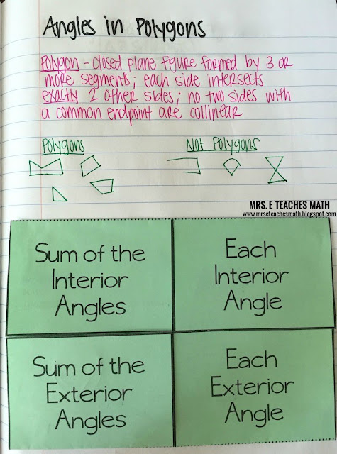 Angles in Convex Polygons Interactive Notebook Page - foldable with examples