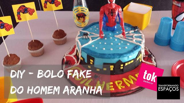 Bolo fake homem aranha - DIY (Faça você mesmo)