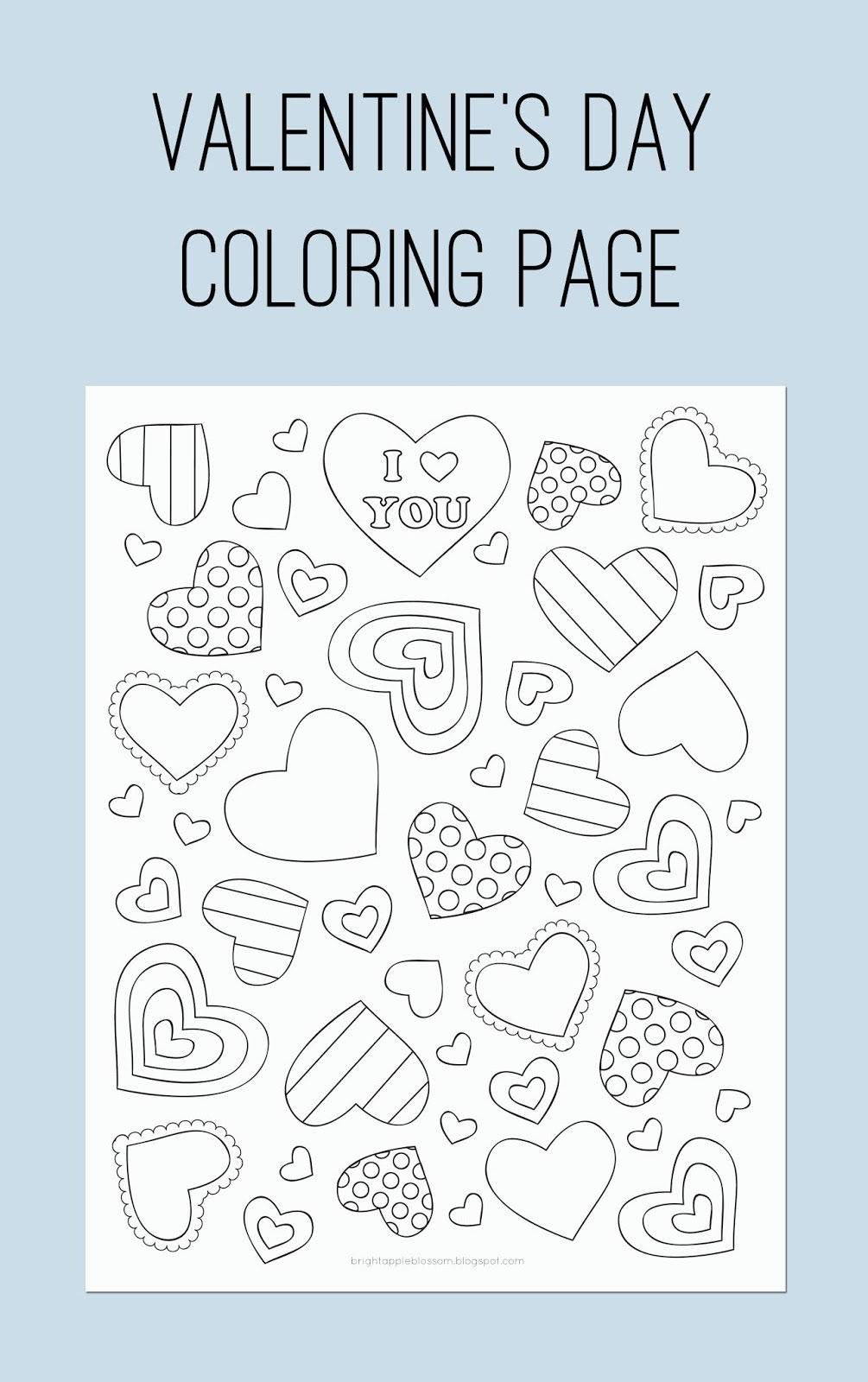 Free Printable Valentine's Day Coloring Page - Bright Apple Blossom
