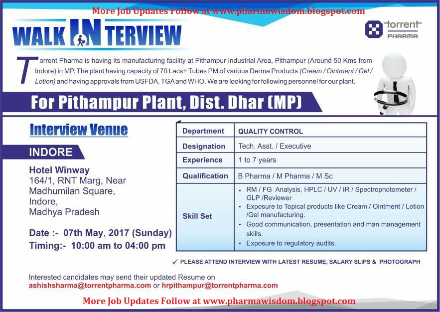 TORRENT PHARMA - Walk-In Interviews on 7th May, 2017
