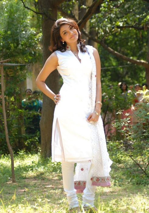 Kajal Agarwal Big Teeth Stills In White Dress