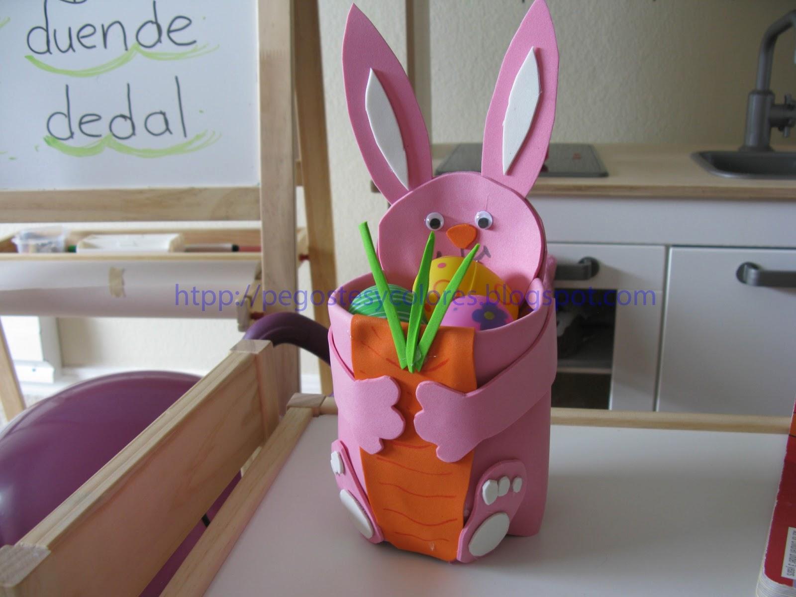 Pegostes y colores conejo rosa de pascua para los dulces for Manualidades pascua