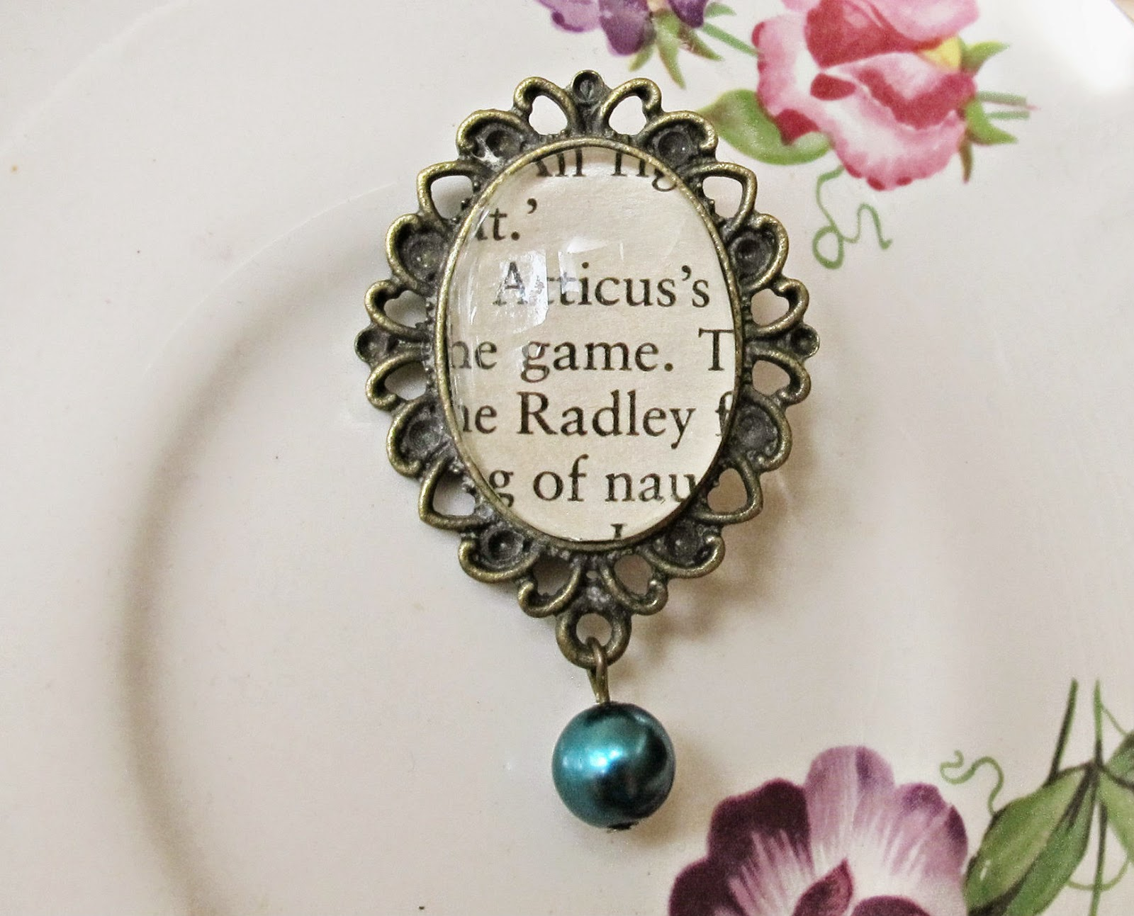 image atticus finch boo radley brooch pin bouquet to kill a mockingbird two cheeky monkeys dark turquoise blue pearl