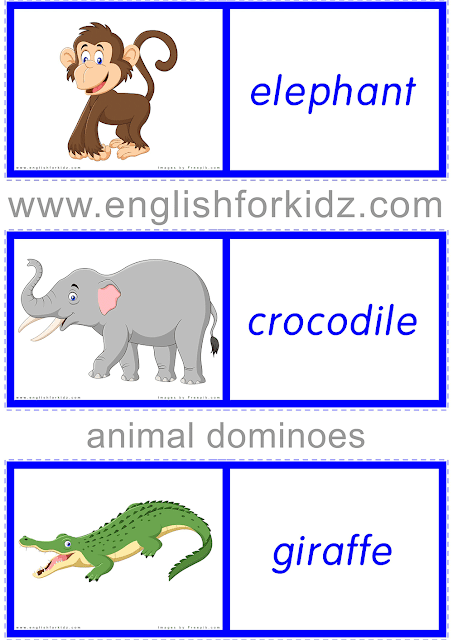 African animals domino  game - free ESL worksheets
