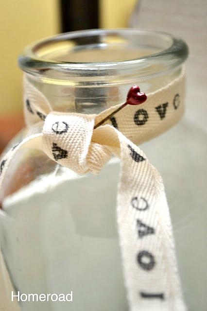 Hand Printed Vintage Valentine Ribbon