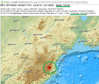 A magnitude 3.4 earthquake has been detected in North Korea.