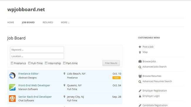 WPJobBoard Plugin Interface