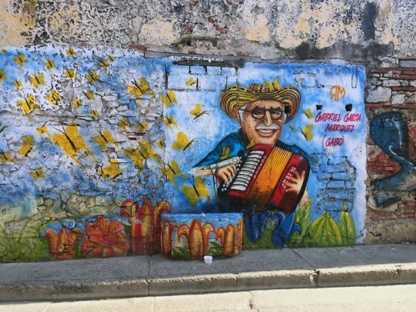 A mural of Gabriel García Márquez in Getsemani, Colombia