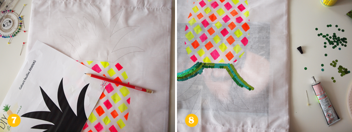 Etapes 7 et 8 - DIY tote bag ananas