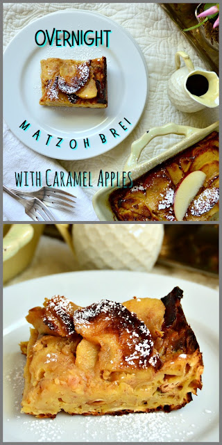 This overnight matzoh brei with caramel apples is perfect for brunch. I love this simple idea and it also makes great leftovers! #PassoverRecipes #matzoh #matzohbrei #brunch www.thisishowicook.com