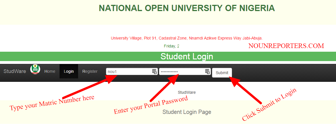 NOUN Student Portal Registration Procedures for New