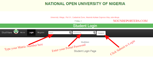 National Open University Student Portal Login Page