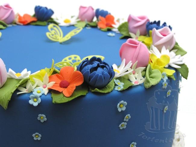 Blumen Fondant Blütenpaste Schmetterlinge Rosen Osterglocken Vergissmeinnicht Blätter Motivtorte Ostern