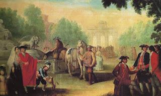 Escena cotidiana junto a la fuente de Cibeles, con petimetres y gentes humildes trabajando con sus caballos.