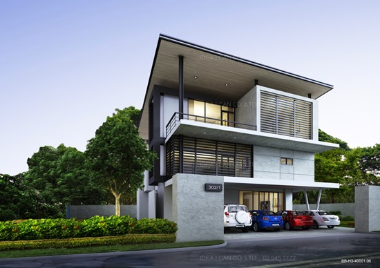 Modern style three story home plans for construction in thai living area 400 sq m 4 bedrooms 4 - Three story home designs ...