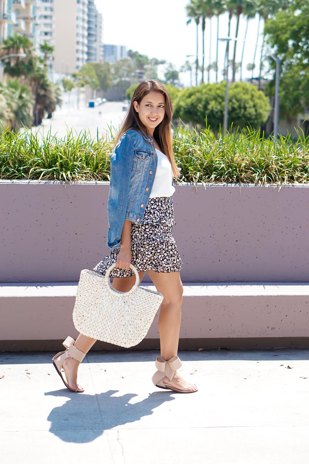 Amina Abdul Jillil Bow Sandals, Summer Straw Tote Bag, Who What Wear Ruffle Skirt, Summer Trends,