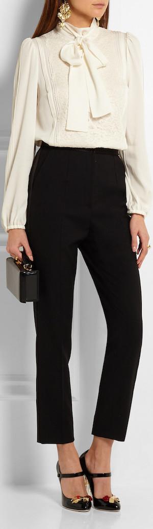 DOLCE & GABBANA Pussy-Bow Lace-Paneled Silk-Blend Chiffon Shirt