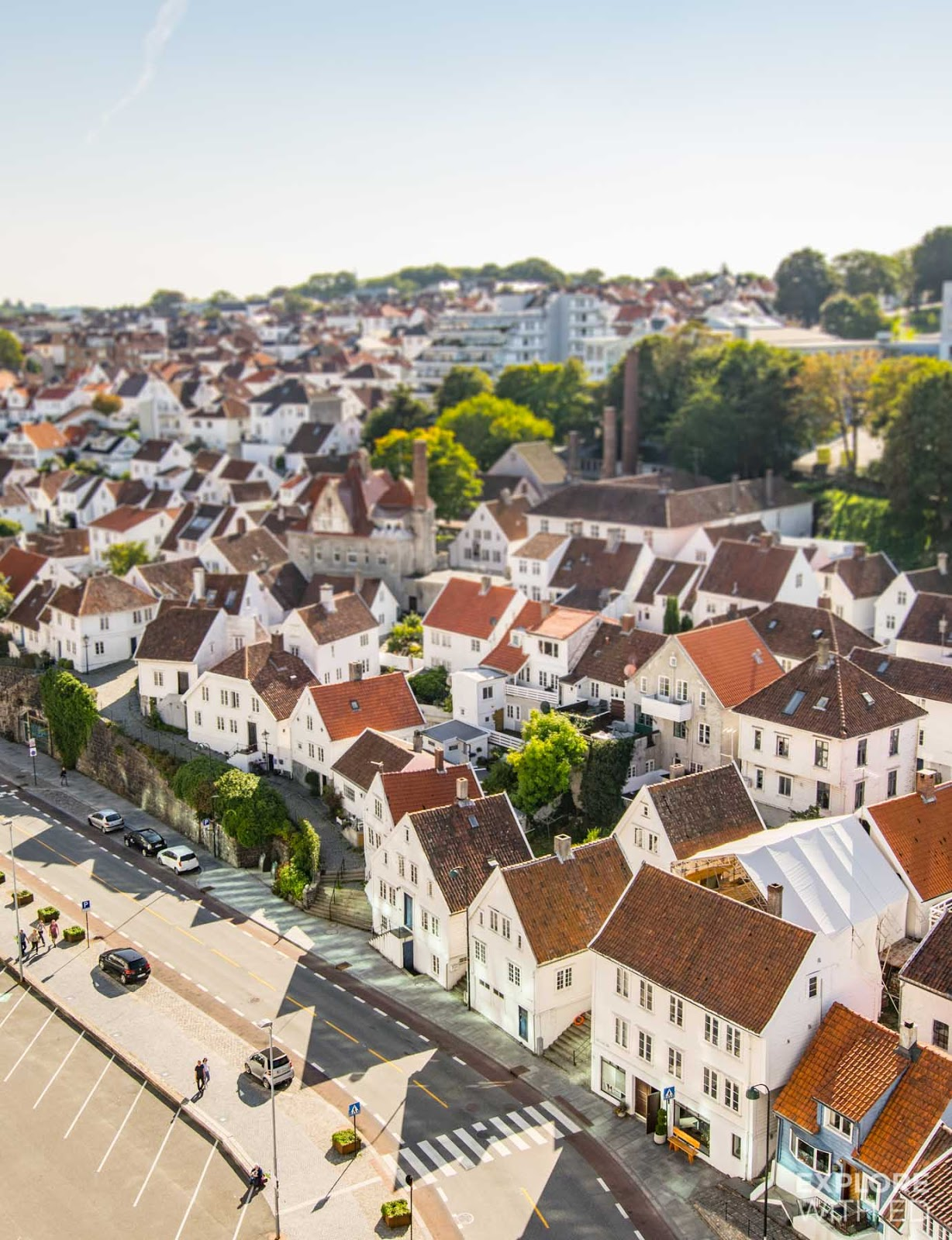 Overlooking the old town of Stavanger with over 170 wooden houses