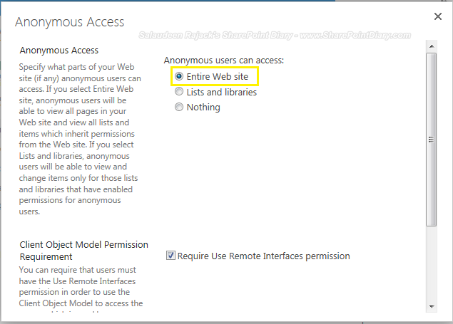 SharePoint 2013 grant anonymous access