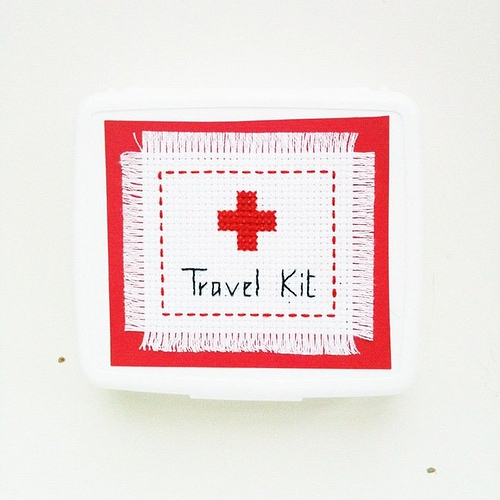 DIY+Cross+Stitch+Mini+Travel+First+Aid+Kit DIY Mini Box First Aid Kit with Cross Stitch Cover