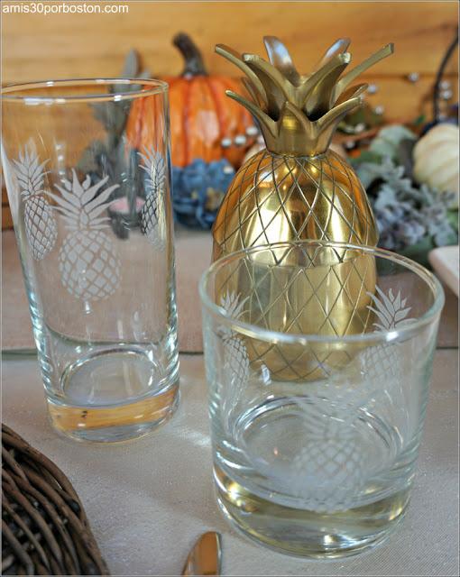 Nuestros Vasos para la Cena de Acción de Gracias con Motivos de Piñas