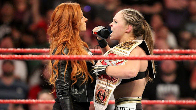 """The Man"" Becky Lynch vs. WWE Champion/UFC Champion Ronda Rousey at WrestleMania 35. StrengthFighter.com"