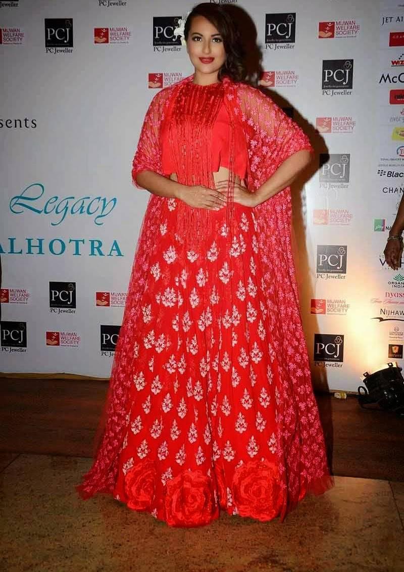 Sonakshi Sinha Hot Stills In Red Dress