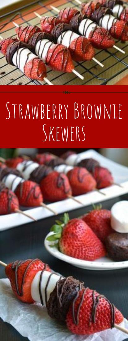 Strawberry Brownie Skewers #dessert #easy