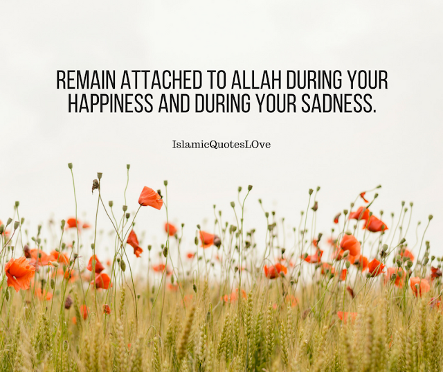 Remain attached to Allah during your happiness and during your sadness.