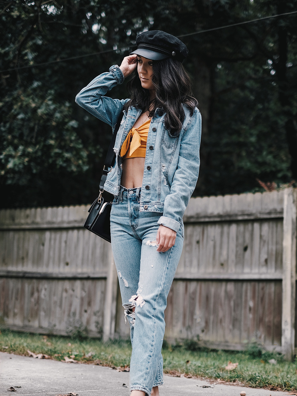 denim on denim outfits, canadian tuxedo outfits, how to style total denim look, denim fall outfits