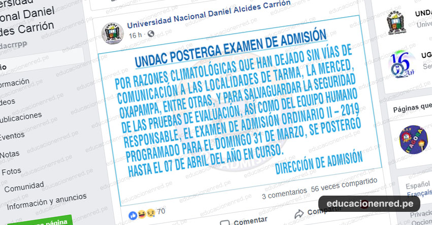 UNDAC: Postergan Examen de Admisión Ordinario 2019-II hasta el 7 de Abril - Universidad Nacional Daniel Alcides Carrión | www.admisionundac.edu.pe | www.undac.edu.pe